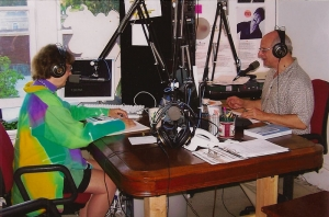 On the air at KOWS radio with Justine Michaels, author of The Cock Chronicles
