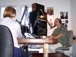 Cindy Sheehan on the air at KOWS radio, July 31, 2009