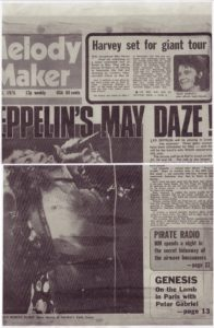 "Pirate Radio England 175 - Melody Maker, March 15, 1975 Front Page ""The Secret Show"""