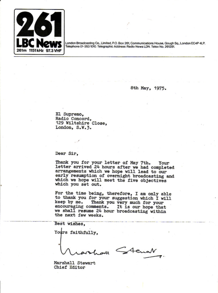 Reply to El Supremo at Radio Concord from Editor-in-Chief Marshall Stewart of London Broadcasting Co. - May 8,1975